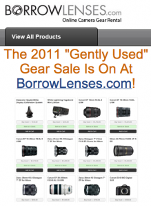 BorrowLenses.com Used Gear Sale