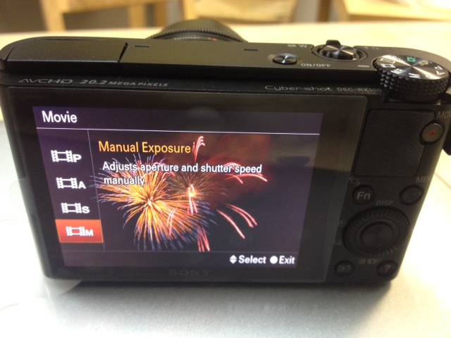 RX100 Sony Manual Video Controls