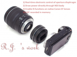 Canon EF to Sony NEX Iris Adapter