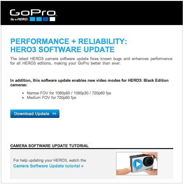GoPro Hero 3 Update