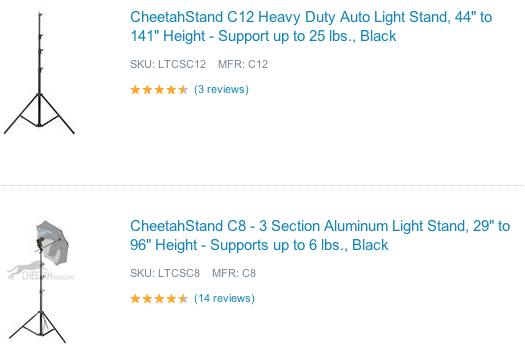 Adorama Cheetah Light Stands