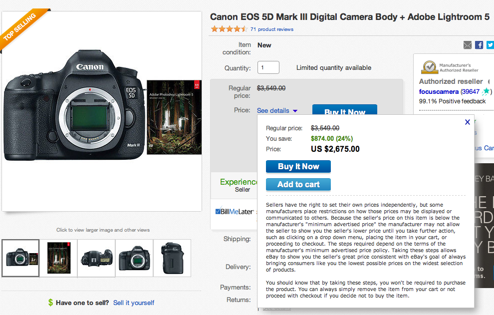 DEAL: Canon 5D Mark III + Adobe Lightroom 5 $2675