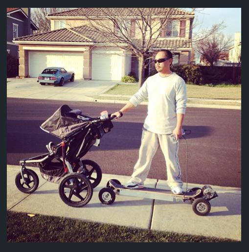 electric motorized baby stroller skateboard push cheesycam