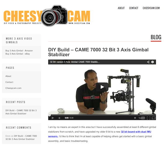 gimbal cheesycam came 7000 build 3 axis DIY brushless
