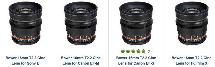 Bower 16mm T/2.2 Cine Lens Deal