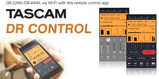 tascam wifi app remote control audio recorder