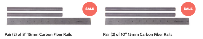 30% OFF 8 and 10 inch PVGear 15mm Carbon Fiber Rails