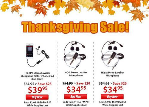 Thanksgiving Holiday Sale AspenMics Lavalier Microphones