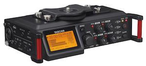 Tascam DR-70D Audio Recorder w Stereo Mics 4 XLR Inputs