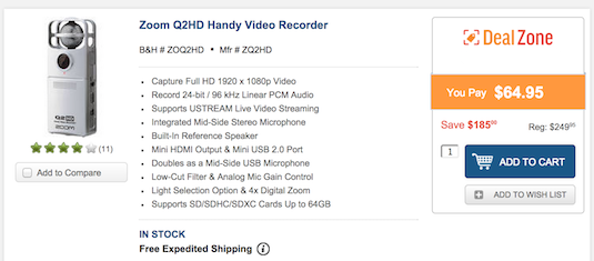 Save -$185 OFF Zoom Q2HD Handy Video Recorder just $64.95