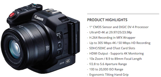 Canon XC10 Camcorder 4K highlights features