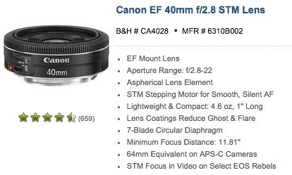 Canon 40mm STM Lens