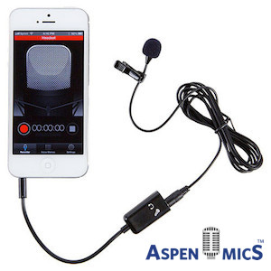 aspenmics iphone lav microphone kit
