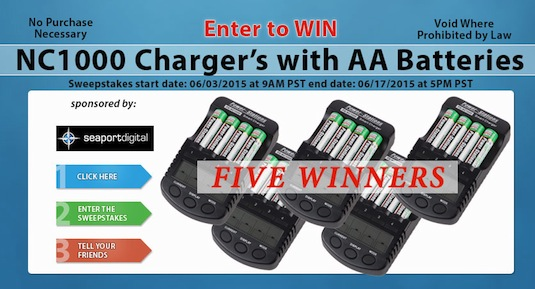 Power-Stations Smart Charger w/ Rechargeable AA Batteries – Five Winners