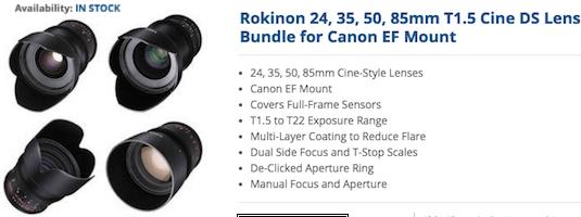 Rokinon Cine DS Lens Canon EF