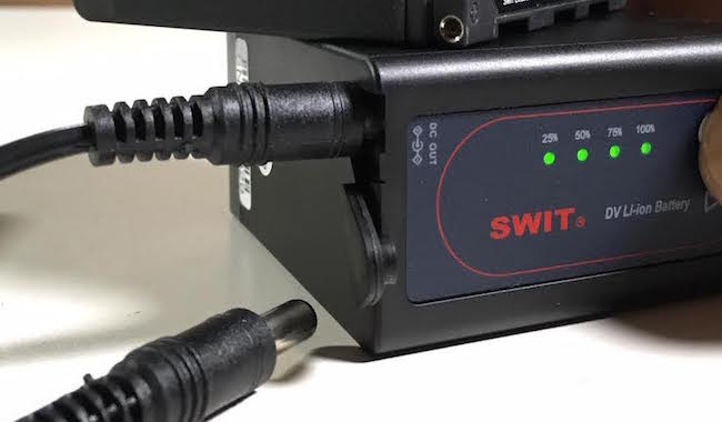 swit sony battery dc out battery meter