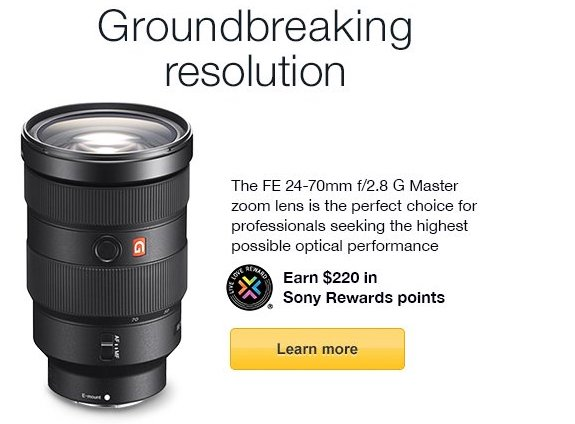 sony rewards discount sony lens